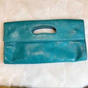 HOBO leather clutch turquoise blue green